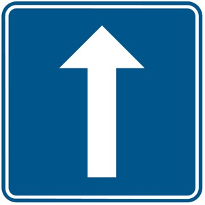 Verkeersbord F19 éénrichtingsverkeer