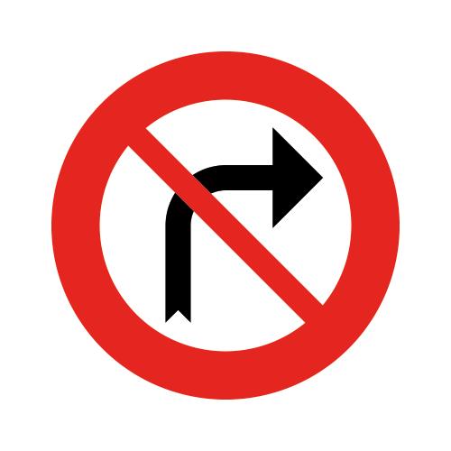 Foto Verkeersbord  C31B  verboden naar rechts