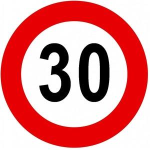 Verkeersbord C43 snelheidsbeperking 30km