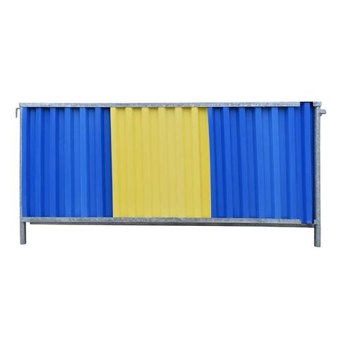 Foto Gesloten hekwerk 2.2x1.18m blauw-geel