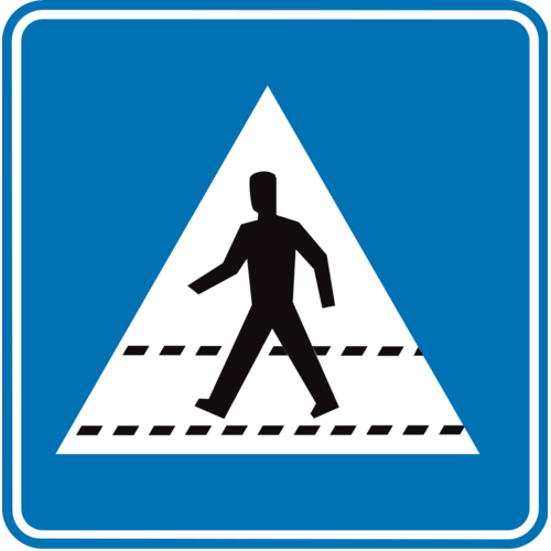 Foto Verkeersbord F49 voetgangers hier oversteken